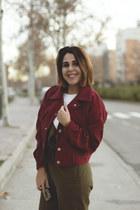 brick red color twinkledeals jacket - white Stradivarius top