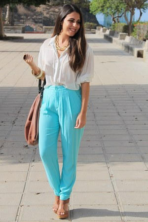 burnt orange Zara bag - sky blue Zara pants - burnt orange Marypaz wedges