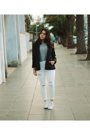 white Pull & Bear jeans - black el corte ingles blazer