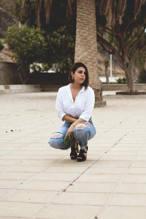 sky blue pull&bear jeans - white Zara shirt - orange Rosegal earrings