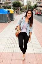 white Local store shirt - light blue Shana jacket - black Calzedonia leggings