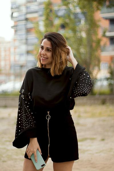 black zaful sweater - black zaful skirt