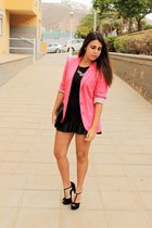 black Inside shirt - hot pink Stradivarius blazer - black pull&bear skirt