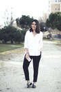 White-zara-shirt-black-zaful-pants-black-stradivarius-flats