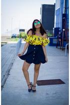 yellow sammydress top - navy zaful skirt - navy Parfois heels