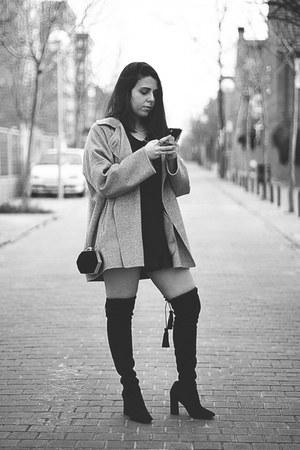 black Gloria Ortiz boots - silver Zara coat - black Zara shirt