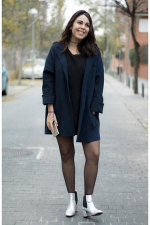 silver pull&bear boots - navy Zara coat - black Zara shirt