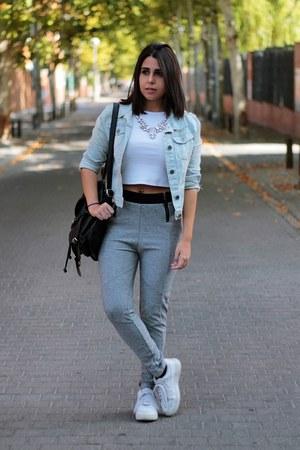 white Stradivarius shirt - light blue Shana jacket - black Local store bag