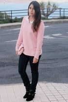 light pink Stradivarius sweater - black Primark boots - navy Pimkie jeans