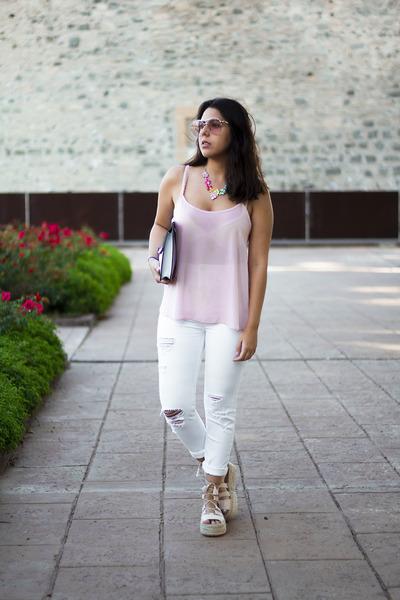 light pink Primark shirt - white pull&bear jeans - silver Primark bag