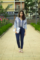 white zaful shirt - navy pull&bear jeans - silver Primark bag