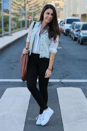 light blue Lefties vest - burnt orange Zara bag - white Primark blouse