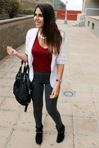 black Primark boots - charcoal gray Primark leggings - white pull&bear blazer