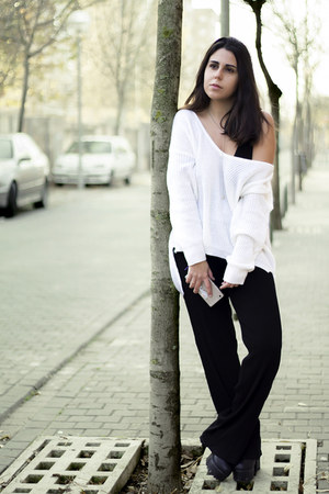 black Newchic boots - white zaful sweater - black pull&bear shirt