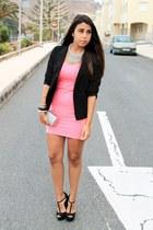 black Lefties blazer - hot pink H&M dress - silver Parfois bag