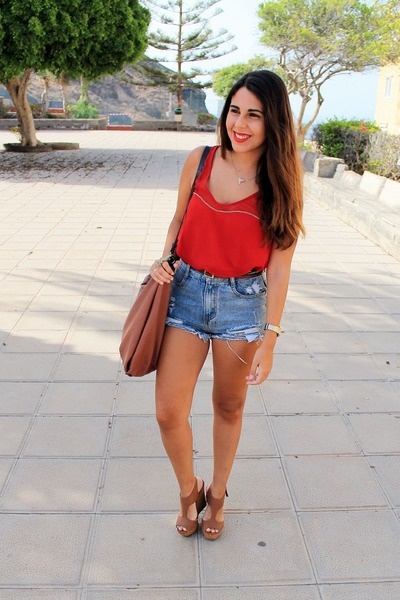 red Stradivarius blouse - bronze Zara bag - sky blue OASAP shorts