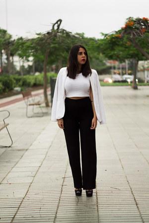 black Zara pants - white Stradivarius blazer - white Stradivarius top