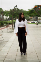 black Zara pants - white Stradivarius blazer - white Stradivarius top