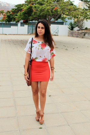 red Local store blouse - brown Zara bag - red pull&bear skirt