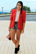 red Mango blazer - red Triste Doll bag - sky blue Oasapcom shorts