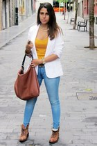white pull&bear blazer - brown Madrid Store boots - sky blue Primark jeans
