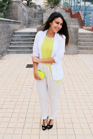 yellow BLANCO bag - white pull&bear blazer - yellow Zara blouse