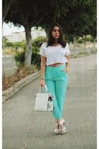 white Parfois bag - aquamarine Zara pants - white Bershka top
