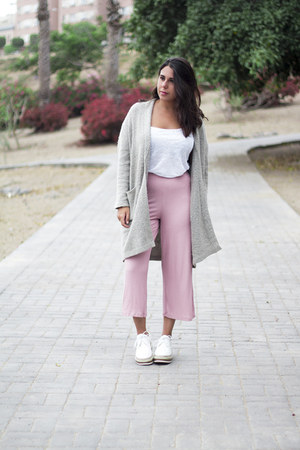 white Zara shirt - silver Lefties cardigan - light pink Bershka pants