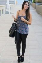 sky blue Stradivarius blouse - black suiteblanco boots