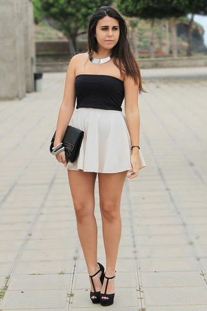 silver Rosegal necklace - black H&M bag - black Zara top - black Marypaz heels