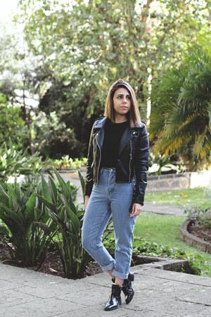 sky blue zaful jeans - black Zara boots - black zaful jacket - black zaful shirt