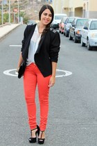red Bershka pants - black H&M jacket - black H&M bag - white Primark blouse