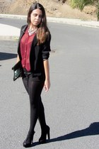 black Lefties blazer - black Bershka bag - black Shana shorts