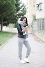 Black-lefties-jacket-silver-mango-scarf-silver-zaful-pants