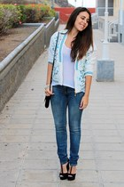 white Oasapcom jacket - navy Stradivarius jeans - white Primark blouse