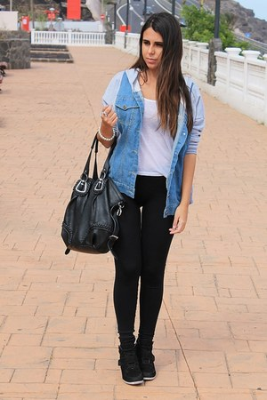 black Calzedonia leggings - light blue Sheinsidecom jacket - black Mulaya bag