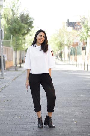 white zaful shirt - black Zara pants