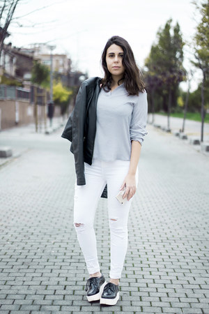 periwinkle Fashionmia shirt - white pull&bear jeans - black Lefties jacket