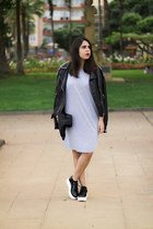 black Pimkie jacket - silver Rosegal dress - black Parfois bag