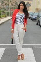 red Mango blazer - white H&M shirt - red Triste Doll bag - ivory Zara pants