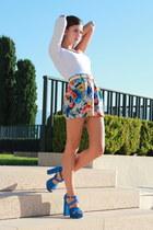 American Apparel shorts - Bershka bodysuit - Madelin heels