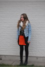 Light-blue-jeans-acne-jacket-black-vintage-bag-vintage-bag