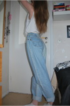 light blue 80s vintage jeans - white home made top