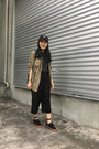 Black-suede-zaful-hat-dark-khaki-utilitarian-jacket-black-zaful-bag