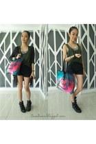 hot pink galaxy tote foymall bag - black sm department store shorts