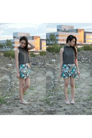 turquoise blue origami skort Stilesclothing skirt