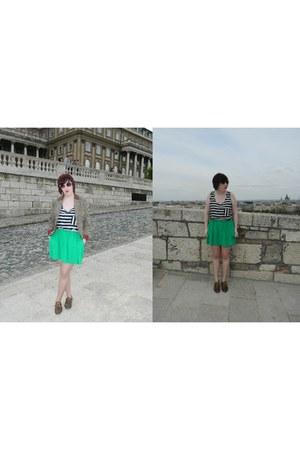 aquamarine green Topshop skirt - bronze houndstooth H&M blazer