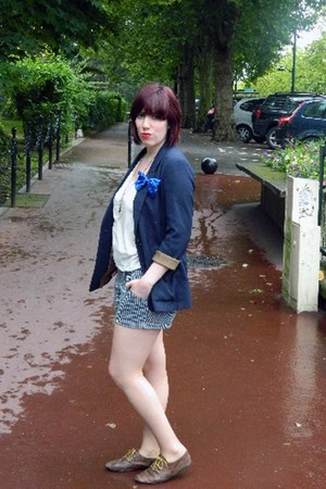 navy H&M blazer - striped Primark shorts - white new look top