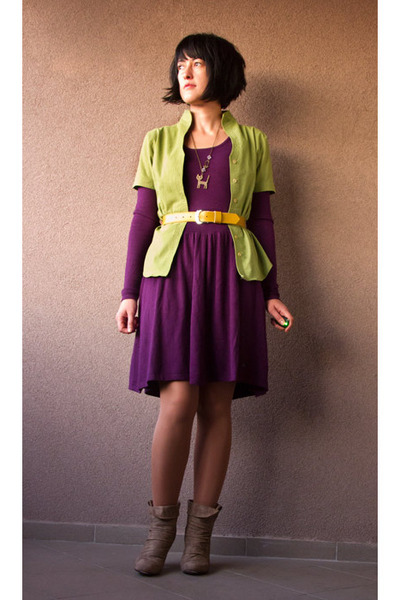 purple atmosphere dresses chartreuse shirts yellow belts my