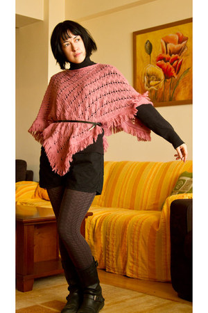 pink poncho sweater - charcoal gray tights - black shorts